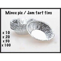 10-100PC SMALL FOIL MINCE PIE DISHES, CASES, JAM TART, TARTS,  PATTY TINS ROUND