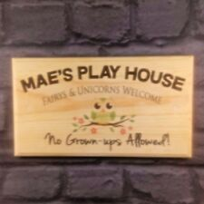 Large Personalised Play Area Plaque / Sign - Fairys & Unicorns No Grown Ups