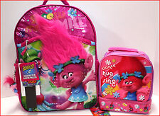 "TROLLS 16"" Large BACKPACK + Dual Compartment LUNCH BOX - Real HAIR POPPY - PINK"