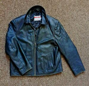 "LEE COOPER Real Leather Jacket Grey Vintage Size M Pit to Pit 21"" ."