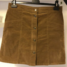 M&S COLLECTION Size 10 Brown Stretch Corduroy Button-up Mini Skirt
