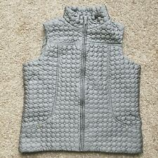 Jane Ashley 1X Quilted Vest Grey Full Zip Puffer Outdoors Hiking Pockets Travel