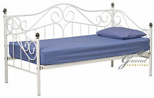 Joseph White Metal Day Bed 3FT Single Guest Bed Frame French Style Bedroom