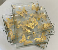 MCM Georges Briard Small Plates Set Of 4 Signed Butterfly Gold Gilt Dishes Tray