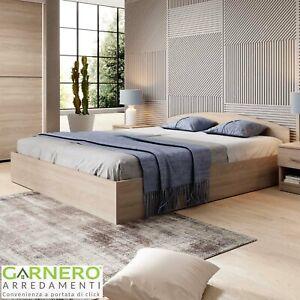Letto matrimoniale con contenitore rovere design moderno ROMA-SORRENTO 160x200cm