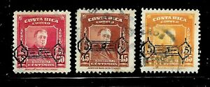 HICK GIRL- USED COSTA RICA STAMPS   SC#C224-26  1953  ROOSEVELT  O.P.      D751