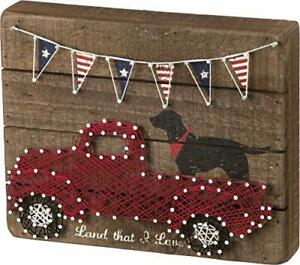 """Primitives by Kathy Patriotic String Art Wood Box Sign 10 x 6"""" Land That I Love"""
