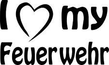 Autoaufkleber - I love (Herz) my Feuerwehr 10 x 5 cm  div. Farben Art 963