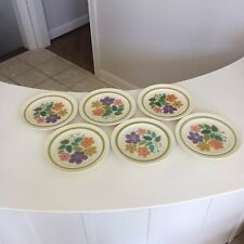 Six (6) Franciscan Earthenware Floral Pattern 1970s Dinner Plates 10 1/2""
