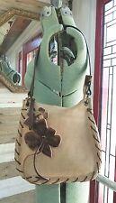 Coccinelle Tan Suede Handbag Shoulder Bag Purse with Ponyhair Details