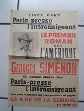 SIMENON / AFFICHE ORIGINALE D EPOQUE PARIS PRESSE  L INTRANSIGEANT