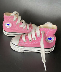 Baby Girls Trainers High Top Pink Converse All Star Size 2 Infant Shoes Pumps