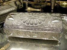 Silver Plated Jewellery Box Filigree For Necklaces Rings Vintage Gift