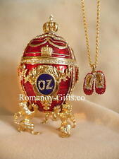 "Wizard of Oz Musical Egg with Ruby Slippers Necklace Plays ""Over the Rainbow"""