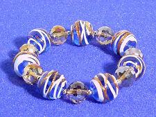MURANO GLASS BEADED BRACELET #BLUE, WHITE, COPPER #137-A/9