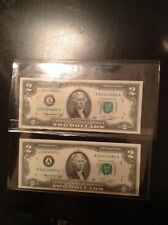 1976 TWO $2 US bills With Consecutive Serial Numbers