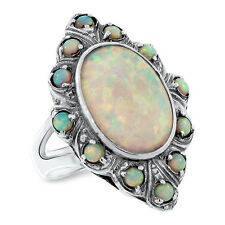 LAB OPAL ANTIQUE VICTORIAN DESIGN .925 STERLING SILVER RING SIZE 6,         #491