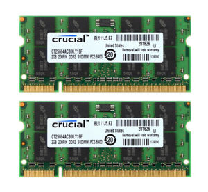 Crucial 4G 4GB 2X 2GB 2G DDR2-800MHz PC2-6400S SODIMM Laptop Memory RAM PC6400