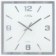 AMS 9324 Wanduhr Quarz Facettiertes und bedrucktes Spiegelglas