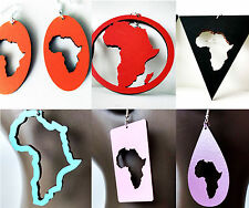 Large laser cut wooden earrings Afro Africa turquoise red blue orange black