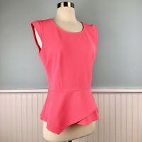 Size Small S Ann Taylor Loft Women's Pink Peplum Cap Sleeve Top Shirt Blouse