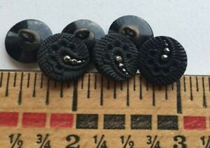 6 Art Deco Black Glass Victorian Mourning Buttons lacey fabric faux steels 12mm