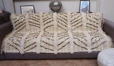 Vintage Handira Wedding Blanket Handmade Moroccan Berber Sequins Throw Rug