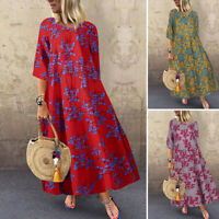ZANZEA 8-24 Women Floral Sundress Kaftan Vintage Retro Bohemian Long Maxi Dress
