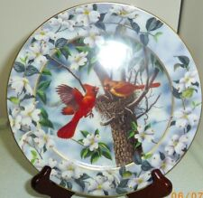 Our First Home Bradford Exchange Cardinal birds round porcelain plate 12233
