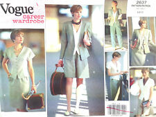 Vogue Pattern 2637 Career Wardrobe 80s 90s Sz 6 8 10 Pants Shorts Jacket Skirt