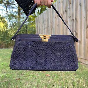 """Unbranded 60s 70s Shoulder Bag Clutch Hobo """"Navy Blue"""" Nylon Canvas Elegant 🚚💨"""