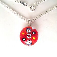 Red Glass Flower Pendant Nacklace. Silver Chain with Murano Millefiori