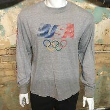 Vintage Levis 1984 USA Olympics Heather Grey Long Sleeve Mens Large T Shirt