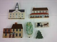 Vintage Lot of 6 Pieces The Cats Meow Village Christmas Painted Wood Buildings