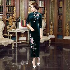 New Luxurious Velvet Royal Green Chinese Long Dress Cheongsam Qipao lcdress69