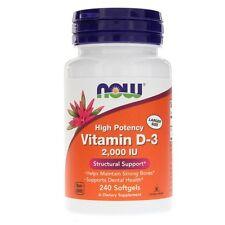 D-3, 2000iu X 240 cápsulas blandas, vitamina D3, triste, resfriados, gripe, Now Foods