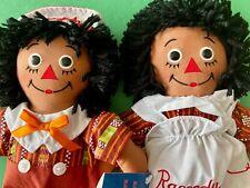 MINT CONDITION w/ TAGS Brown / Black RAGGEDY ANN & ANDY ethnic dolls KENTE CLOTH