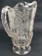 32oz Cut Glass Beverage Pitcher Grapevine Heavy Quart Clear Textured Art Deco