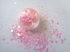3g POT  BABY PINK -  SEQUIN /DISCS /DOTS  GLITTER MIX - NAIL ART