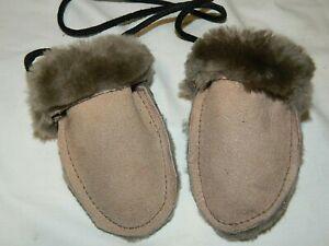 Handmade USA Genuine Shearling Sheepskin Baby/Infant Thumbless Mittens 0-12 mos