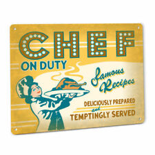 Chef On Duty Metal Sign Female Famous Recipe Restaurant Diner Cafe Kitchen Decor
