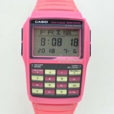 Pink Vintage Casio Databank Watch Calculator Multi Lingual DBC-32 Running B661