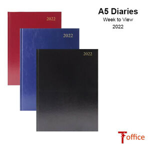 2022 Diaries A5 - Week Per View - Hard Backed Black, Blue, Red