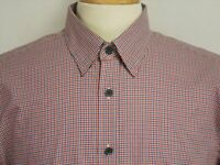 Untuckit Mens sz L Blue Red White Striped Check Long Sleeve Button Front Shirt