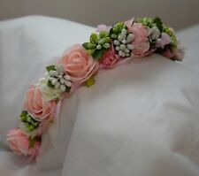 PINK German Wedding Garden OKTOBERFEST Dirndl Dress FLOWER HEAD WREATH Hair BAND