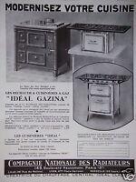 PUBLICITÉ 1931 LES RÉCHAUDS & CUISINIÈRES A GAZ IDÉAL GAZINA - ADVERTISING