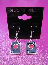 925 Sterling Silver Gamblers Ace Of Hearts Card Dangle Earrings