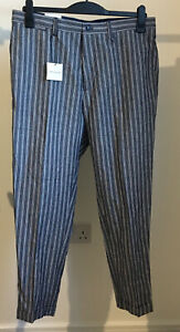 """ZARA 34 """"W Carrot Fit Tapered smart blue stripe Chino Style Trousers cotton line"""