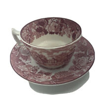 Vintage Wood & Sons ENGLISH SCENERY Red Cup & Saucer Enoch Woods Made n England