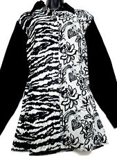 KOOS OF COURSE ! ANIMAL & FLORAL PRINT BIG SHIRT GRAY BLACK WHITE SZ MED M NEW